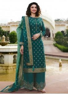 Teal Silk Trendy Salwar Suit