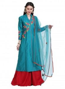 Teal Tafeta Silk Readymade Salwar Kameez