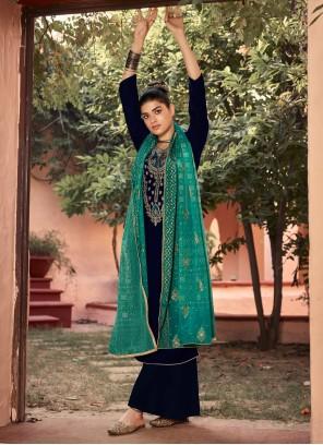 Teal Velvet Salwar Suit