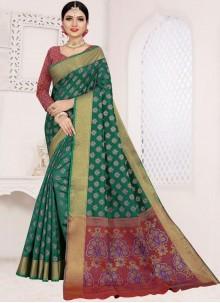 Teal Weaving Art Silk Cotton Casual Saree