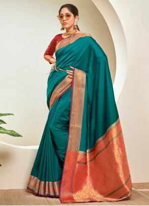 Teal Woven Festival Traditional Saree