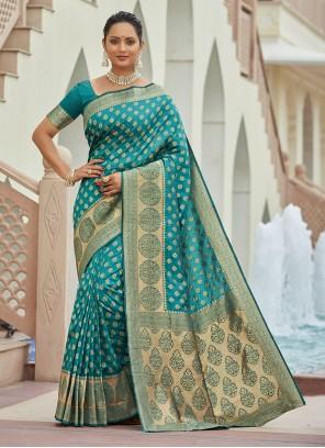 Teal Zari Silk Traditional Saree
