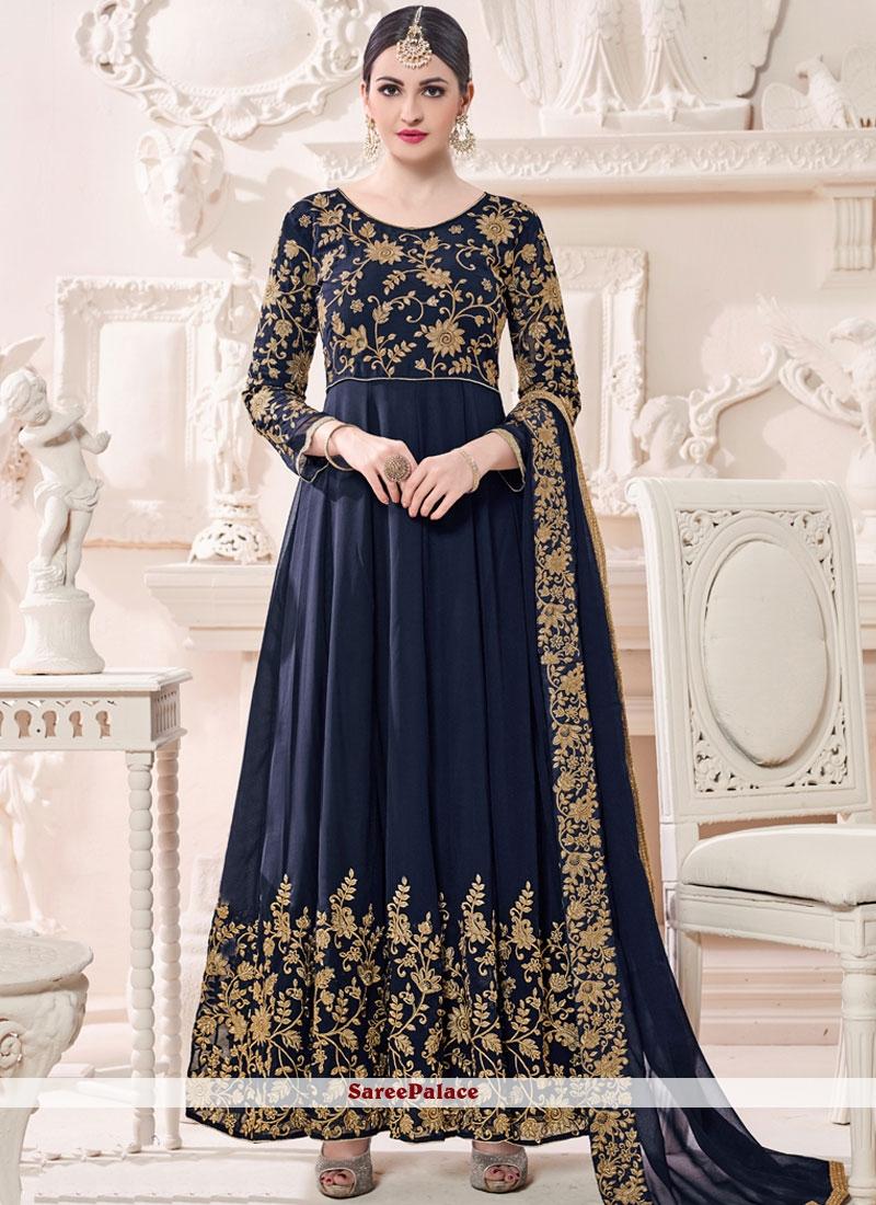 6fa395cd65 Buy Tempting Navy Blue Anarkali Suit Online