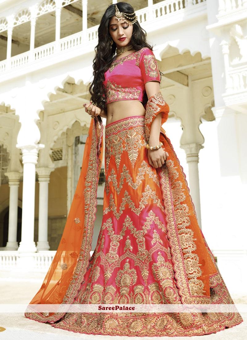 64db144e287ad Buy Tempting Orange and Hot Pink Patch Border Work Lehenga Choli Online
