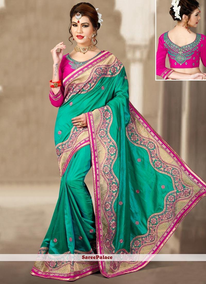 Tempting Sea Green Designer Traditional Saree