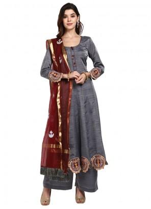 Thread Art Silk Grey Designer Pakistani Suit