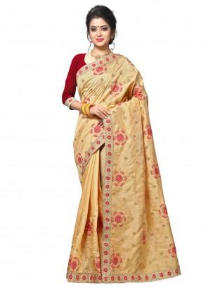Thread Beige Classic Saree