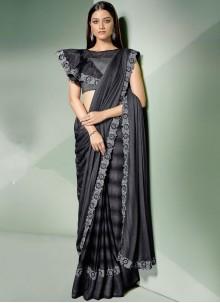Thread Black and Silver Designer Saree