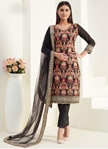 Thread Black Georgette Salwar Suit