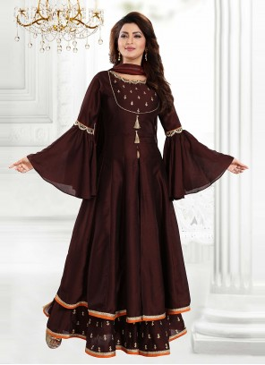 Thread Brown Embroidered Art Silk Readymade Suit