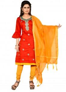 Red Thread Chanderi Cotton Churidar Salwar Kameez