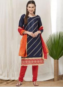 Thread Cotton Blue Churidar Suit