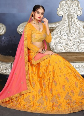 Yellow Thread Engagement Lehenga Choli