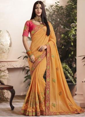 Thread Georgette Yellow Designer Saree