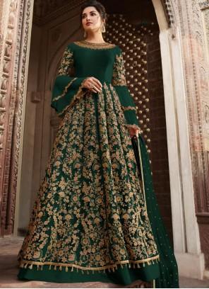 Thread Green Anarkali Suit