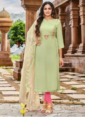 Thread Green Chanderi Cotton Salwar Kameez