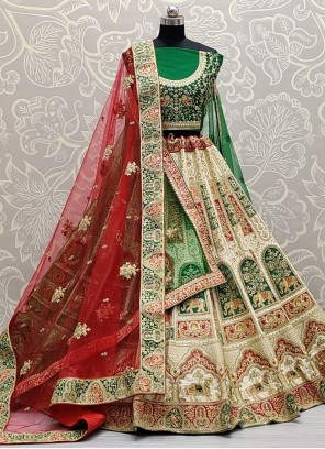 Thread Green, Off White and Red Lehenga Choli
