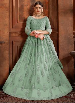 Thread Net Designer Lehenga Choli in Green