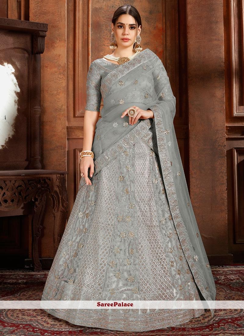 Thread Net Designer Lehenga Choli in Grey