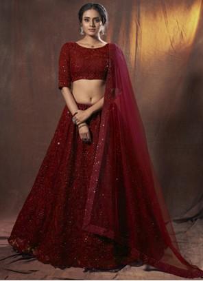 Maroon Thread Net Lehenga Choli