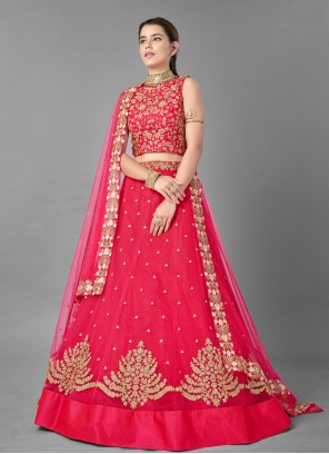 Pink Thread Net Lehenga Choli