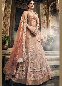 Thread Peach A Line Lehenga Choli