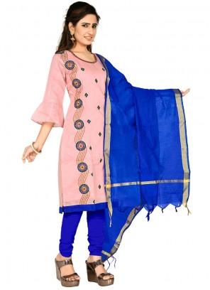 Thread Pink Chanderi Cotton Salwar Kameez