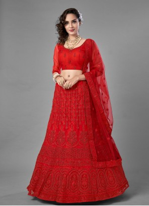 Thread Red Net Lehenga Choli