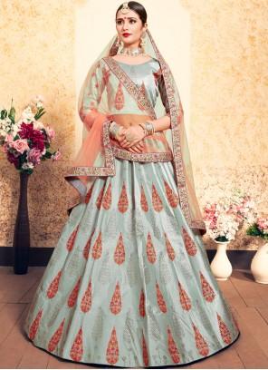 Grey Thread Satin Designer Lehenga Choli