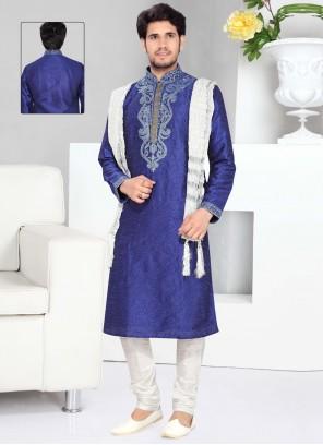 Thread Work Art Silk Kurta Pyjama in Blue