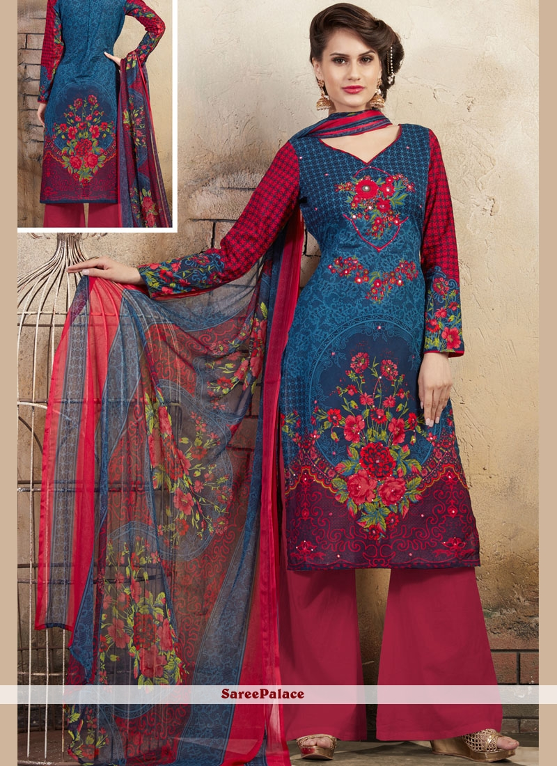 Thread Work Cotton Palazzo Salwar Suit
