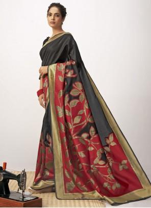Thread Work Cotton Silk Black and Maroon Designer Saree