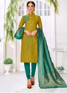 Thread Work Cotton Trendy Churidar Salwar Suit