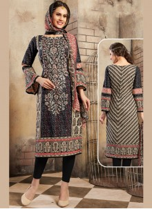 Thread Work Cotton Trendy Churidar Salwar Suit in Black