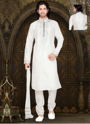 Thread Work Dupion Silk Kurta Pyjama in Off White