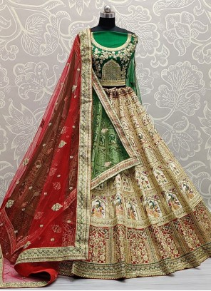 Thread Work Patch Border Multi Colour Lehenga Choli