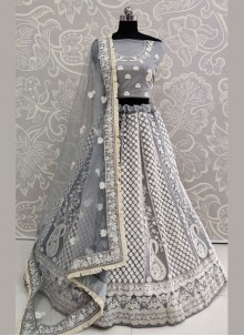 Thread Work Net Grey Lehenga Choli