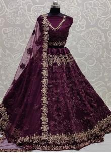 Purple Thread Work Net Lehenga Choli
