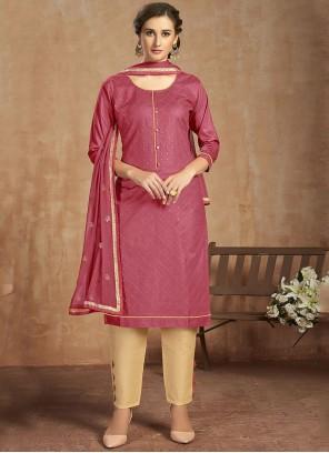 Thread Work Pink Cotton Salwar Suit