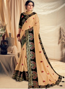 Thread Work Satin Silk Traditional Designer Saree in Cream