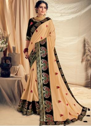 Thread Work Satin Silk Traditional Designer Saree in Cream