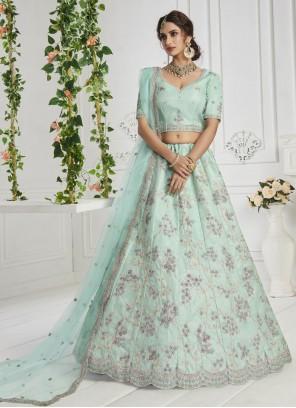 Thread Work Silk Lehenga Choli in Turquoise