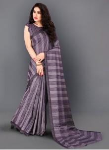 Thread Work Trendy Violet Saree
