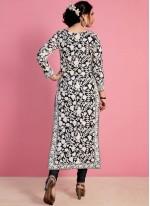 Thread Work Work Black Georgette Churidar Salwar Suit