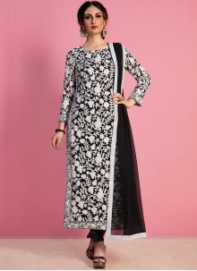Thread Work Work Black Georgette Churidar Salwar Suit