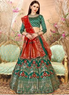 Thrilling Art Silk Green Weaving Work Lehenga Choli