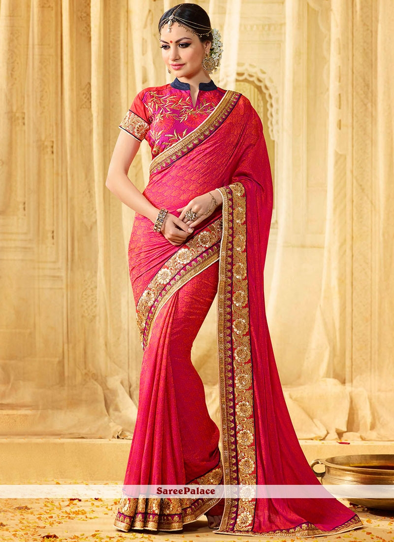 a000d3bc3f Buy Thrilling Embroidered Work Hot Pink Banarasi Silk Classic Designer Saree  Online
