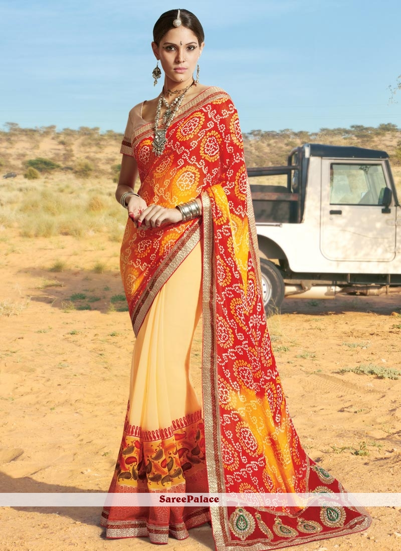 Thrilling Georgette Multi Colour Print Work Printed Saree