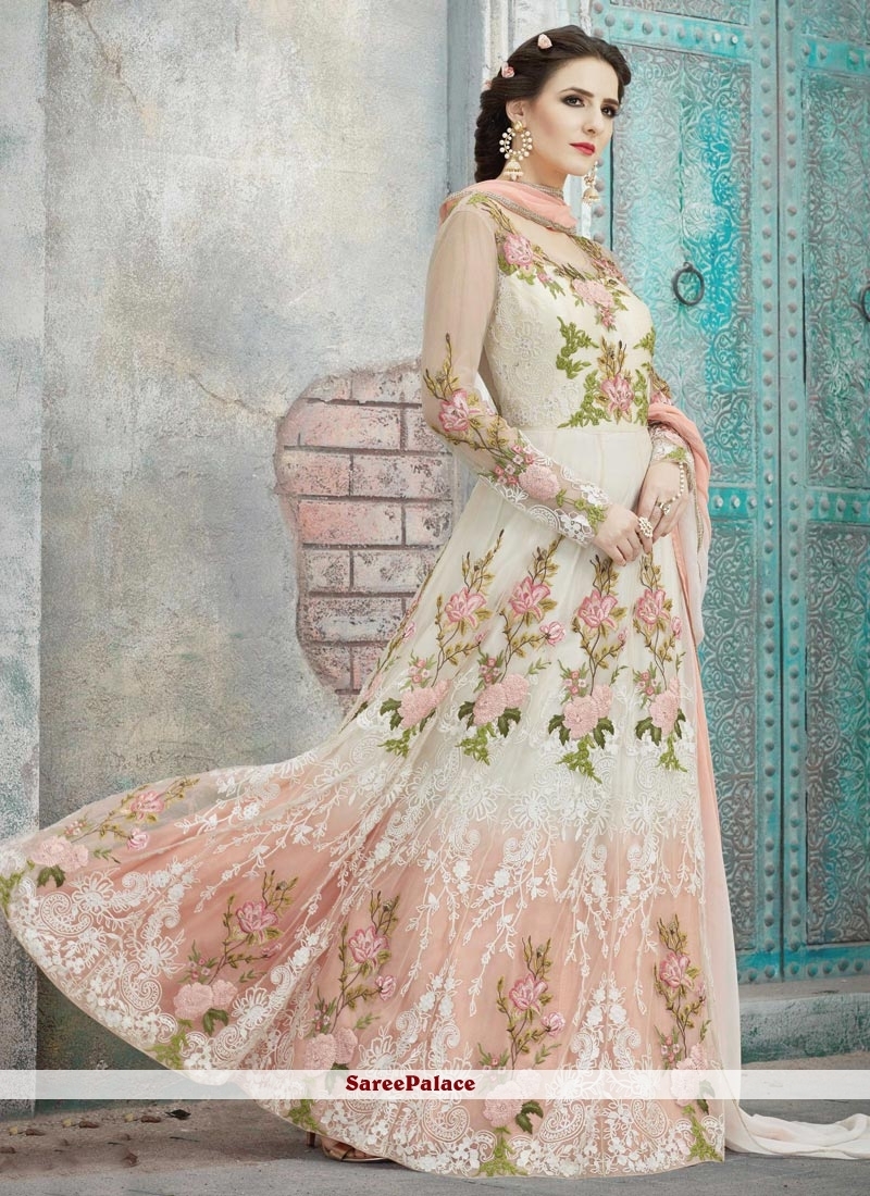 Thrilling Lace Work Off White and Salmon Net Floor Length Anarkali Suit