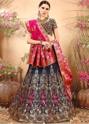 Thrilling Navy Blue Weaving Work Art Silk Lehenga Choli